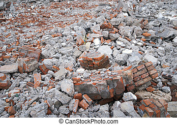 Debris - Bricks and other debris at a building site
