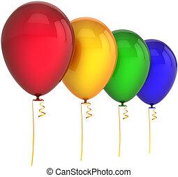 aniversário, balões, Quatro, cores