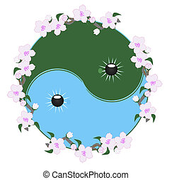 Ying and Yang and cherry blossomsl - Ying and Yang symbol,...