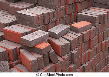 Pile of bricks - Pile of red and gray bricks