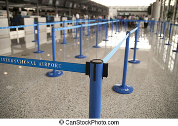 International airport - Check-in queue at an international...