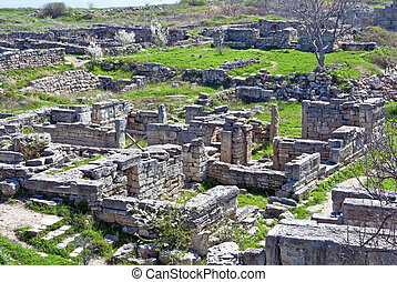 Ruins of ancient town in the museum of Chersonesos in...