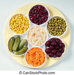 Assorted vegetables - Variety of pickled and fresh...