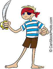 Pirate Boy - A boy dressed as a pirate and wielding a...