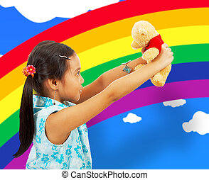 Young Girl Playing With Her Teddybear