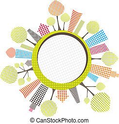 circle city with tree. Vector illustration - circle city...