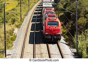 Cargo Train passing with some freight wagons, in Portugal