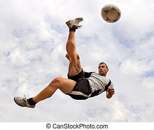 futbol, jugador, bicicleta, patada