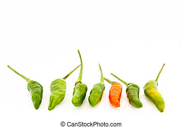Birds eye chili - Also known as Thai Chilli in isolated...