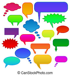 Image of various colorful chat bubbles isolated on a white background.