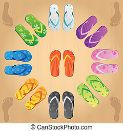 Flip Flops - Image of various colorful flip flops on a sand...