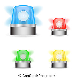 Image of various colorful responder lights isolated on a white background.