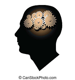 Brain Gears - Image of gears inside of a man's head.