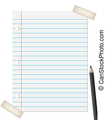 Lined paper with pencil and tapes isolated on white...