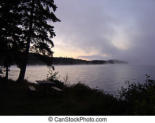 Algonquin Morning Fog - Early morning fog rising on a lake...