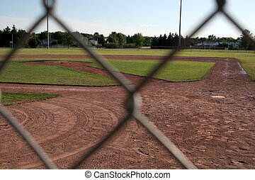 Obstructed View - The view of a ball diamond from behind the...