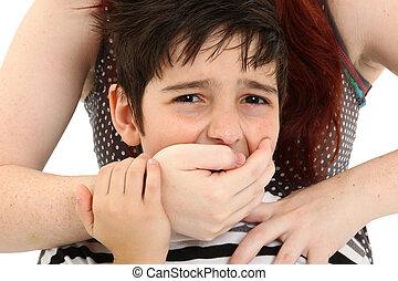 niño, abuso, o, secuestro