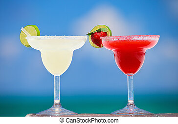 Margarita cocktails - Classic and strawberry margarita...