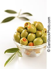 Green olives stuffed with pimento - Bowl of green olives...