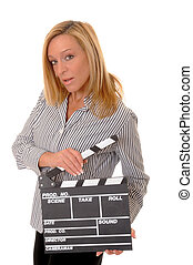 Clapboard Girl - Lovely blond girl holding a clapboard