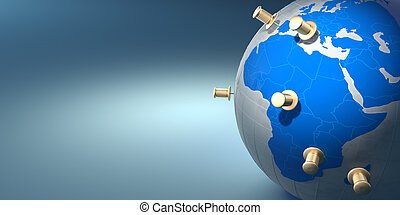 Earth and thumbtacks on blue background