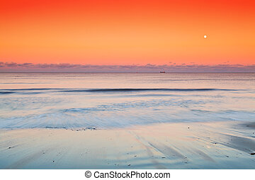 Seascape - Sea at dusk with the Moon rising and ships on the...
