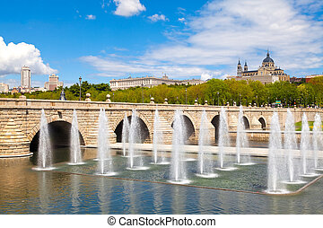 Madrid, Spain - Madrid Skyline with the Segovia Bridge,...