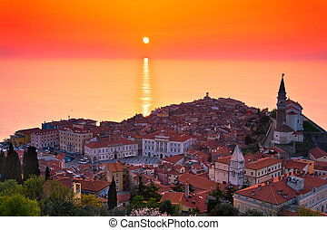 Piran, Slovenia - Sunset over the Slovenian Coast Piran