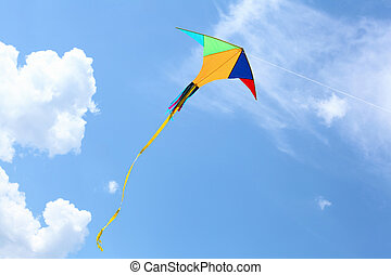 wind kite in the sky - wind kite flying in the blue summer...