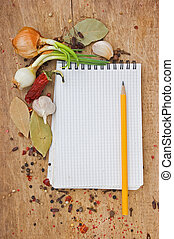 notebook to write recipes with spices