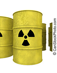 yellow nuclear waste barrel - view of yellow nuclear waste...