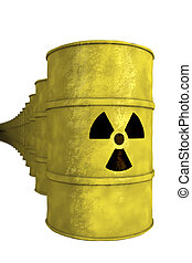 series of nuclear waste barrel