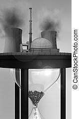close-up view of nuclear power station on huge hourglass