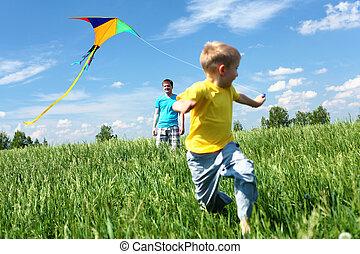 父親, 兒子, 夏天, 風箏
