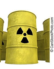 nuclear waste barrel from below - view of nuclear waste...