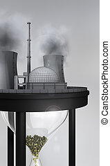 close-up of nuclear power station on huge sand glass