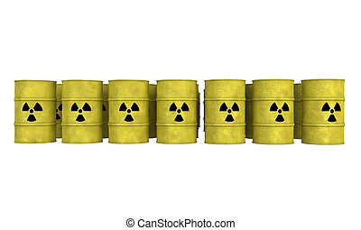 rows of nuclear waste barrel - rows of yellow barrel for...