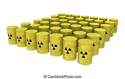 rows of nuclear waste barrel from top - view of nuclear...