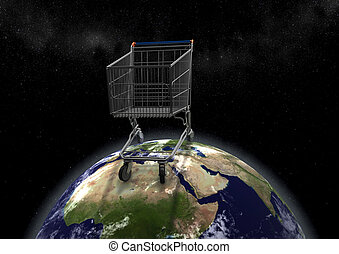 huge shopping cart on earth - view of huge shopping cart on...