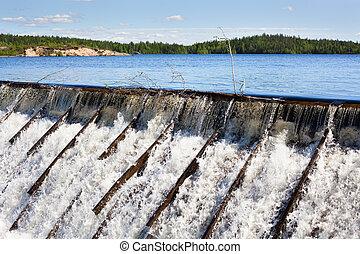 Owerflow of water on dam