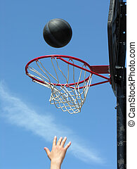 street basketball - street basketball moment, focused on...
