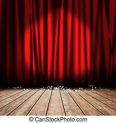 Stage red curtain - Red curtain with spotlights and stars