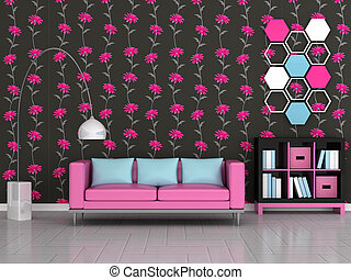 interior of the modern room, black floral wall, pink sofa