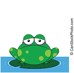 Frog sat on a Lilly pad with copy space