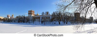 Winter panorama of Novodevichiy monastery in Moscow. Russia