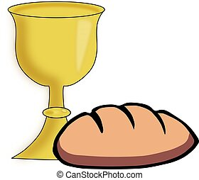 Bread and chalice Vector Ilustration