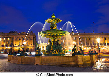 Fountain in Paris at Night - Fountain on Place de la...