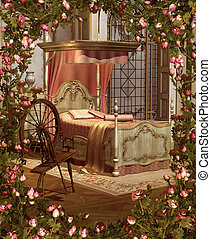 Beauty's Bedroom - A pink bedroom with spinning wheel...