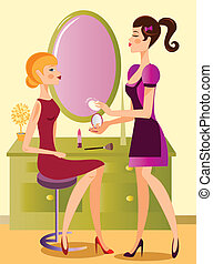 makeup artist working - is a ilustracion of a makeup artist...