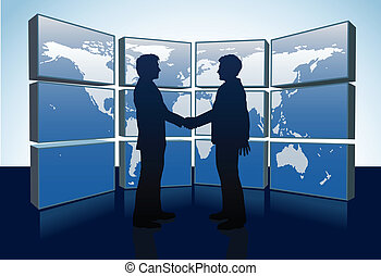 Business people handshake world map monitors